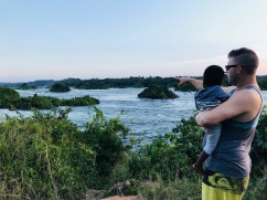 Showing off some of Daddy's favourite rapids on the Nile River!